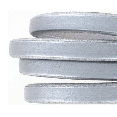 Regaliz leather cord, 10x7mm, silver,  pack of 1 meter