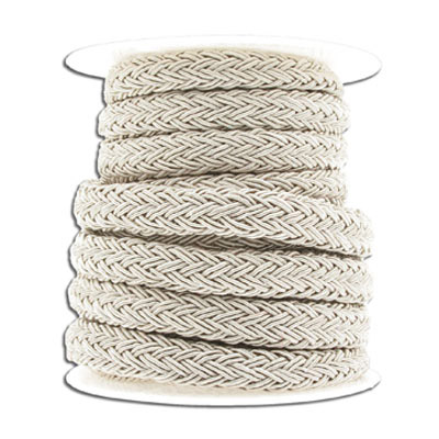 Braided cord, 10x8mm, polyester, champagne, 5 meters