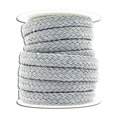 Braided cord, 10x8mm, polyester, silver, 5 meters