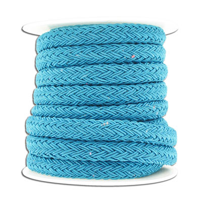 Braided cord, 10x8mm, polyester, turquoise, 5 meters