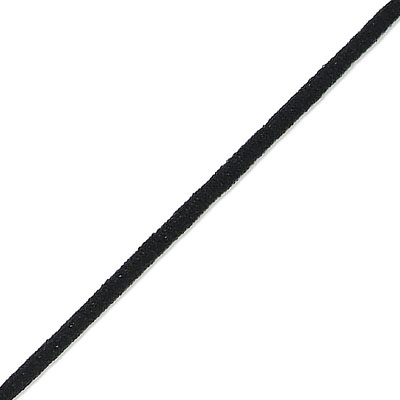 Stretch elastic fabric cord, 3mm round, black, 500 meters spool