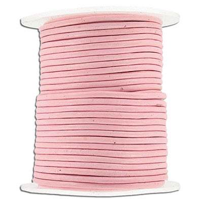 Round leather cord, 2mm, pink, 25 meters
