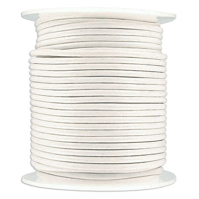 Round leather cord, 2mm, white, 25 meters