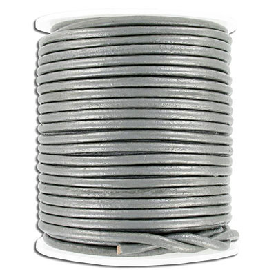 Leather cord, round, 3mm, grey (metallic), 25 meters