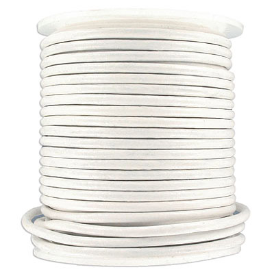 Round leather cord, 3mm, white, 25 meters