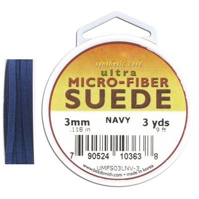 Ultra micro fiber suede, 3mm, flat, 9 feet, navy