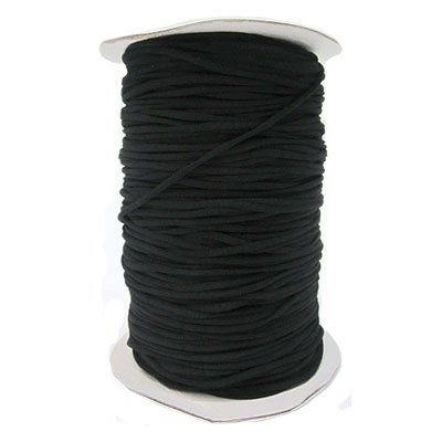 Stretch elastic fabric cord, 3mm flat, black, 500 meters spool