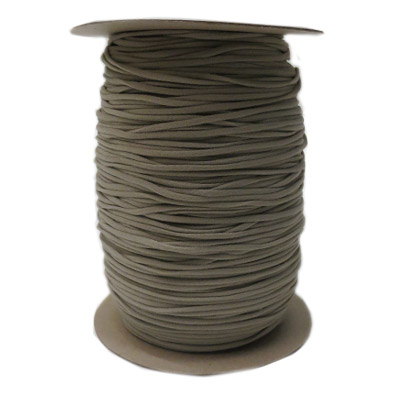 Stretch elastic fabric cord, 3mm round, grey, 2x250 meters spool