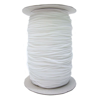 Stretch elastic fabric cord, 3mm round, white, 500 meters spool