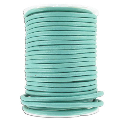 Leather cord, 4mm, turquoise, 25 meters