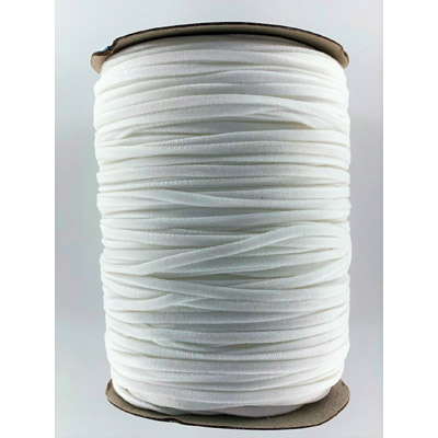 Stretch elastic fabric cord, 4mm flat, white, 500 meters spool