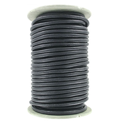 Leather cord, 5mm, round, matte black, 25 meters