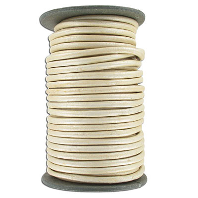 Round leather cord, 5mm, pearl finish, 25 meters