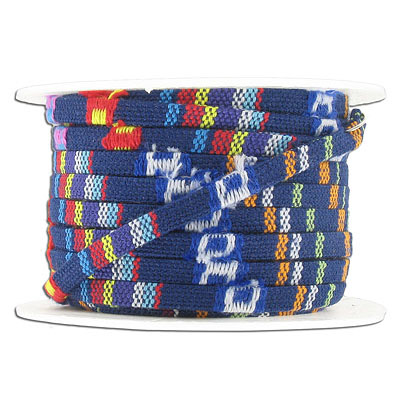 Flat ethnic cotton cord, 5x2mm, blue, multicolor, 10 meters