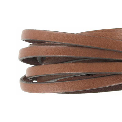 Flat Regaliz leather cord, 5x2mm, brown, pack of 2 meters