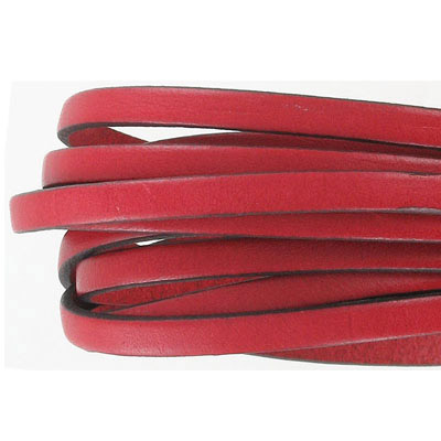 Flat Regaliz leather cord, 5x2mm, red, pack of 2 meters
