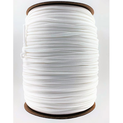 Stretch elastic fabric cord, 5mm flat, white, 500 meters spool