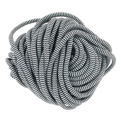 Climbing cord, 5mm, polyester, semi-soft, black and white, pack of 10 meters. Made in Europe
