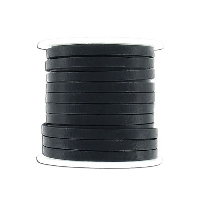 Flat leather, 5x2mm, black, 10 meters spool