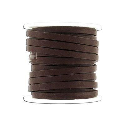 Flat leather, 5x2mm, brown, 10 meters spool