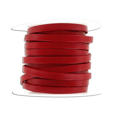 Flat leather cord, 5x2mm, red, 10 meters spool