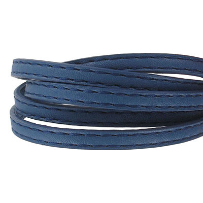 Faux leather cords, 5x2mm, stiched, navy, 1m each cord