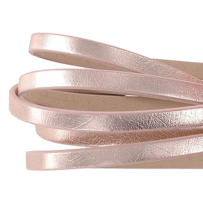 Faux leather cords, 5x2mm, metallic rose gold, 1m 20cm each cord