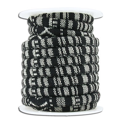 Round ethnic cotton cord, 6mm, black, multicolor, 5 meters spool