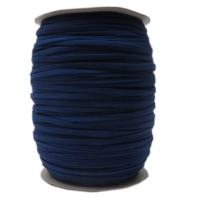 Stretch elastic fabric cord, 6mm flat, blue, 2x250 meters spool
