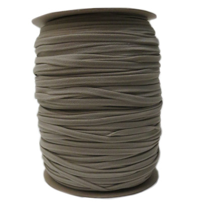 Stretch elastic fabric cord, 6mm flat, grey, 2x250 meters spool