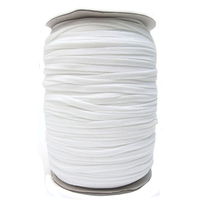 Stretch elastic fabric cord, 6mm flat, white, 500 meters spool