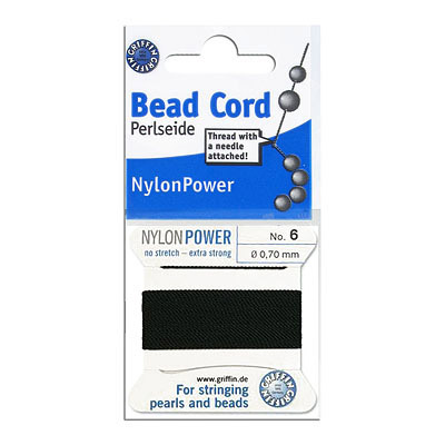 Thread with attached bead needle, size 6, diameter 0.70mm, no stretch, extra strong, black