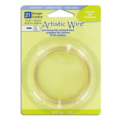 Artistic wire, 21 gauge, 3x.75mm, flat, gold plate, 3 feet