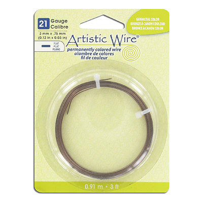 Artistic wire, 21 gauge, 3x.75mm, flat, antique brass, 3 feet