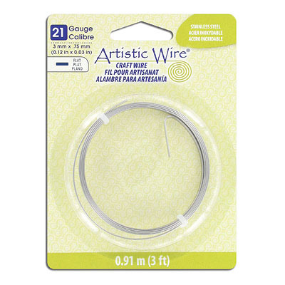 Artistic wire, 21 gauge 3x.75mm, flat, stainless steel, 3 feet