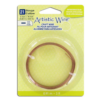 Artistic wire, 21 gauge, 5x.75mm, flat, antique brass, 3 feet