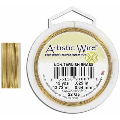Wire 22 gauge (0.6mm) 13.7 metres (15yds) copper core with non-tarnish brass