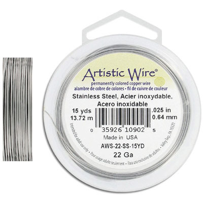 Artistic wire, 22 gauge, stainless steel, 15 yards