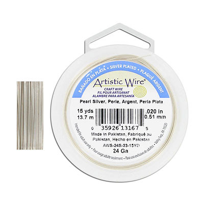 Artistic wire, 24 gauge, pearl silver, 15 yards