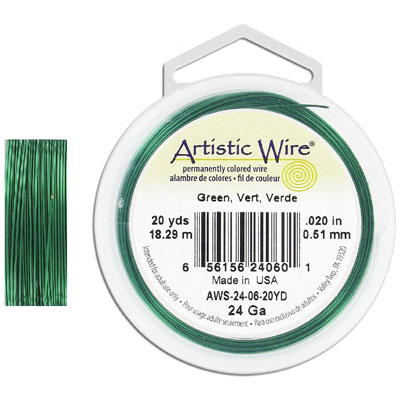 Artistic wire, 24 gauge, green, 20 yards