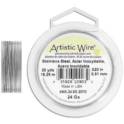 Artistic wire, 24 gauge, stainless steel, grade 304, 20 yards