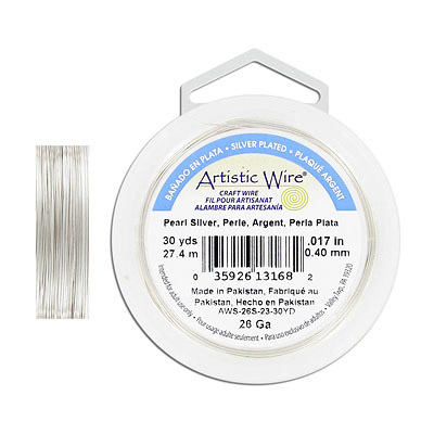 Artistic wire, 26 gauge, pearl silver, 30 yards