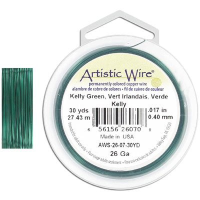 Artistic wire, 26 gauge, kelly green, 30 yards