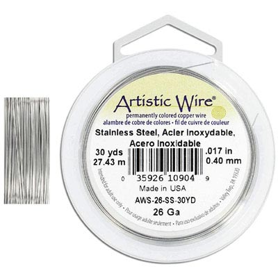 Artistic wire, 26 gauge, stainless steel, grade 304, 30 yards