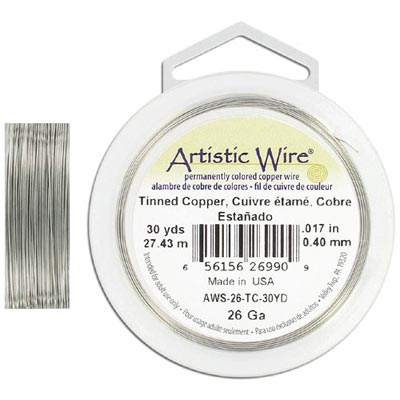 Artistic wire, 26 gauge, tinned copper, 30 yards