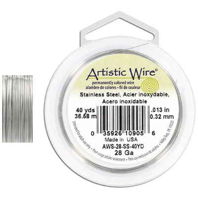 Artistic wire, 28 gauge, stainless steel, grade 304l, 40 yards