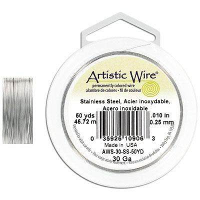 Artistic wire, 30 gauge, stainless steel, grade 304l, 50 yards