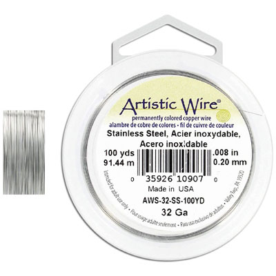 Artistic wire, 32 gauge, stainless steel, grade 304l, 100 yards