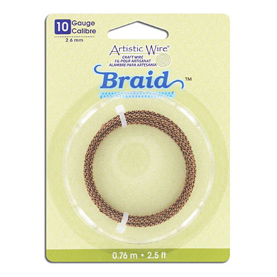 Artistic wire, 10 gauge, 2.6mm, braided, antique brass, 2.5 feet