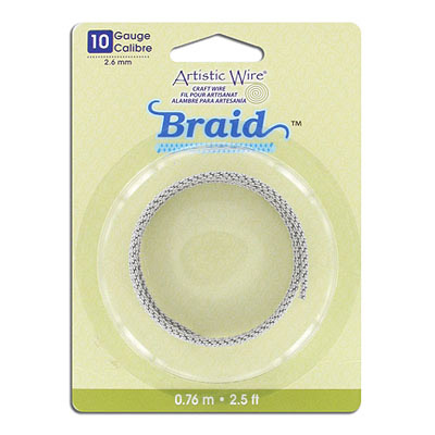 Artistic wire, 10 gauge (2.6mm), braided, 2.5 feet, stainless steel